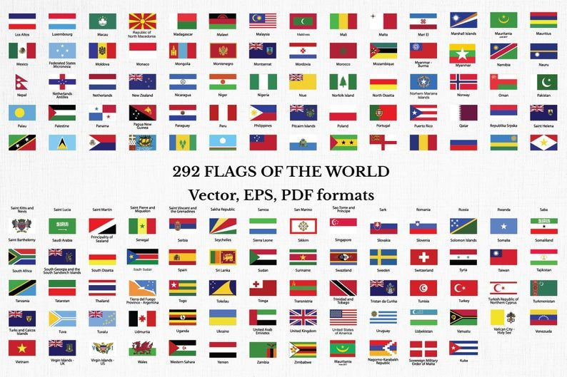 Flags Collection Of The World Clip Art All Countries And Unions Printable Flags With Names Eps Illustrator And Pdf Files National Flags Clip Art Flags With Names All Country Flags