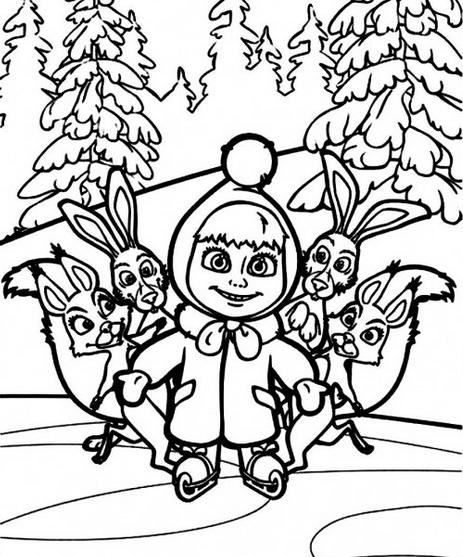 Masha E Urso Bear Boomerang Desenhos Imprimir Colorir Pintar 2