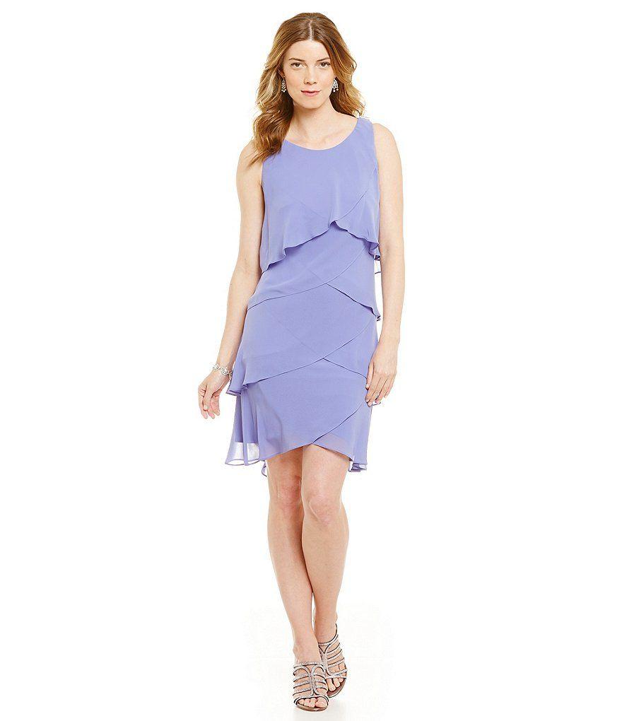 Sl sl fashion dresses - S L Fashions Beaded Shoulder Tiered Dress