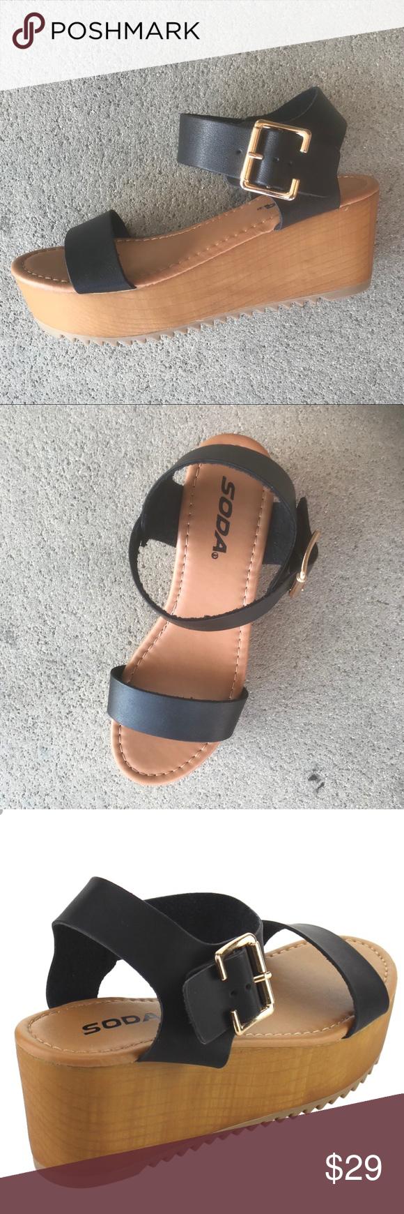 """6384c1bd654859 Soda Ayla Platform Black Sandals - Black 🆒 Soda Ayla 2"""" Wedge Flatform  slopes to 1"""" in front. Black Sandals Strappy faux leather upper."""