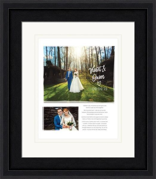 Two wedding photos along with wedding vows in a framed art print.