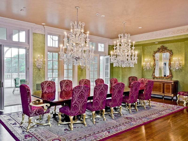 Decoration, Luxury Crystal Dining Room Chandelier Mixed Purple Dining Room  Furniture Faced By Window Also