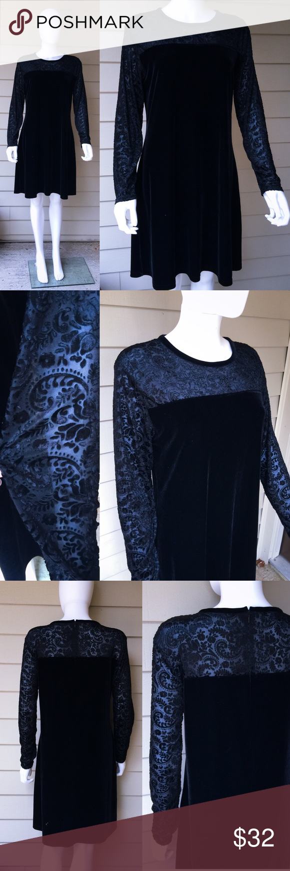 Vintage 90s black velvet babydoll mini dress Unique brocade shear panels on upper bust and sleeves. Black velvet mini mod dress. By jacqueline ferrar . In good condition . MEASUREMENTS(flat)- size 12 . Stretchy-Bust: 19' Waist: 17' Hips: 23' . Vintage 90s. Sold as is. Ask all questions before purchasing. Vintage Dresses Mini