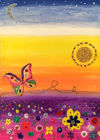 wunderland 60 cm x 80 acryl auf leinwand mit vielen ziersteinen 2015 abstrakt malerei idee farbe grossbilder eigenes bild als