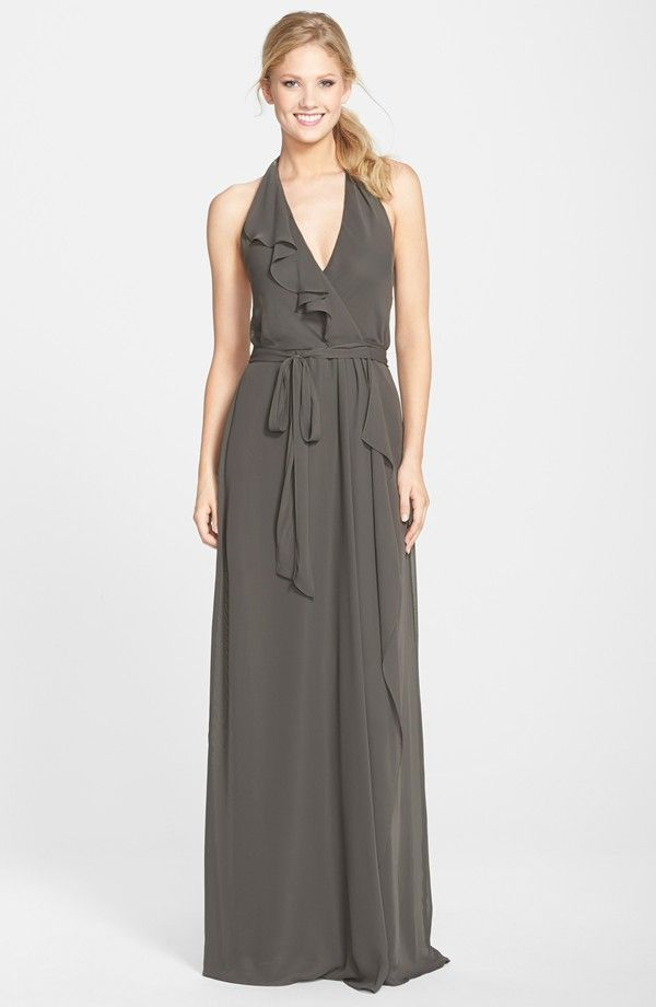 nouvelle AMSALE Long Chiffon Wrap Dress | Nordstrom | Bridesmaid ...