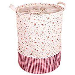 Moolecole Cartoon Foldable Cotton Line Floral Laundry Basket