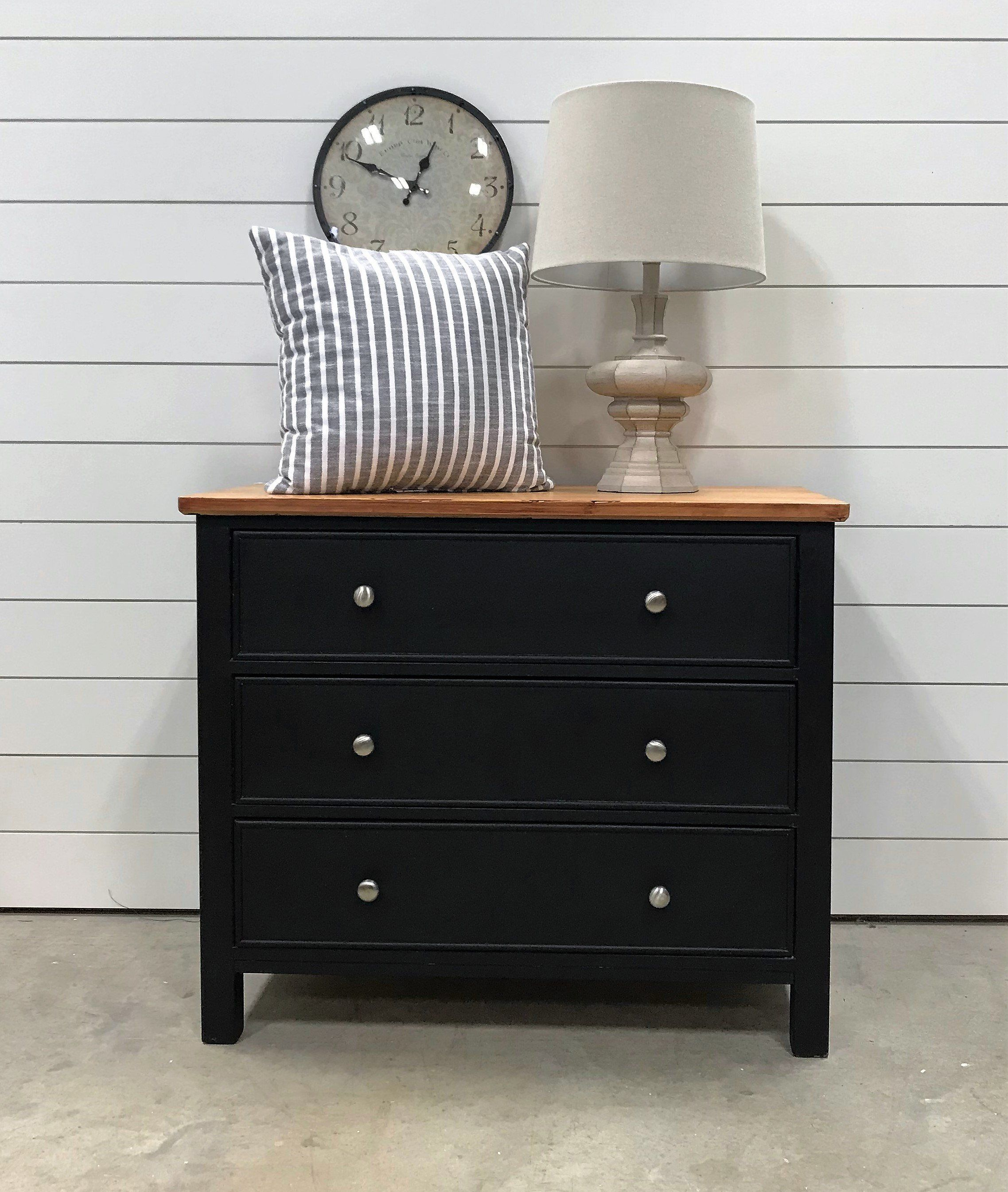 Black Wood Top 3 Drawer Dresser