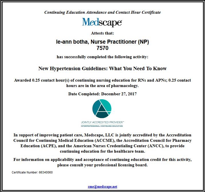 Ce Certificate For New Hypertension Guidelines What You Need To