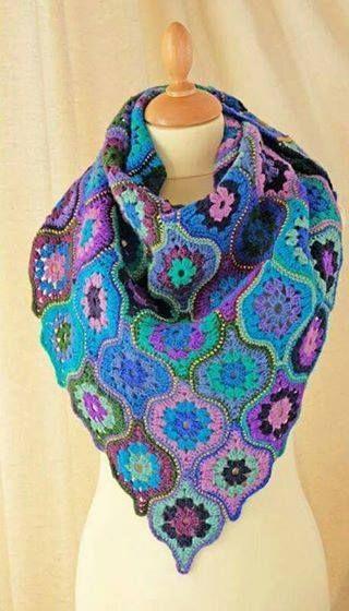 Patrón #1705: Bufanda de Carpetitas a Crochet   вязание из мотивов ...