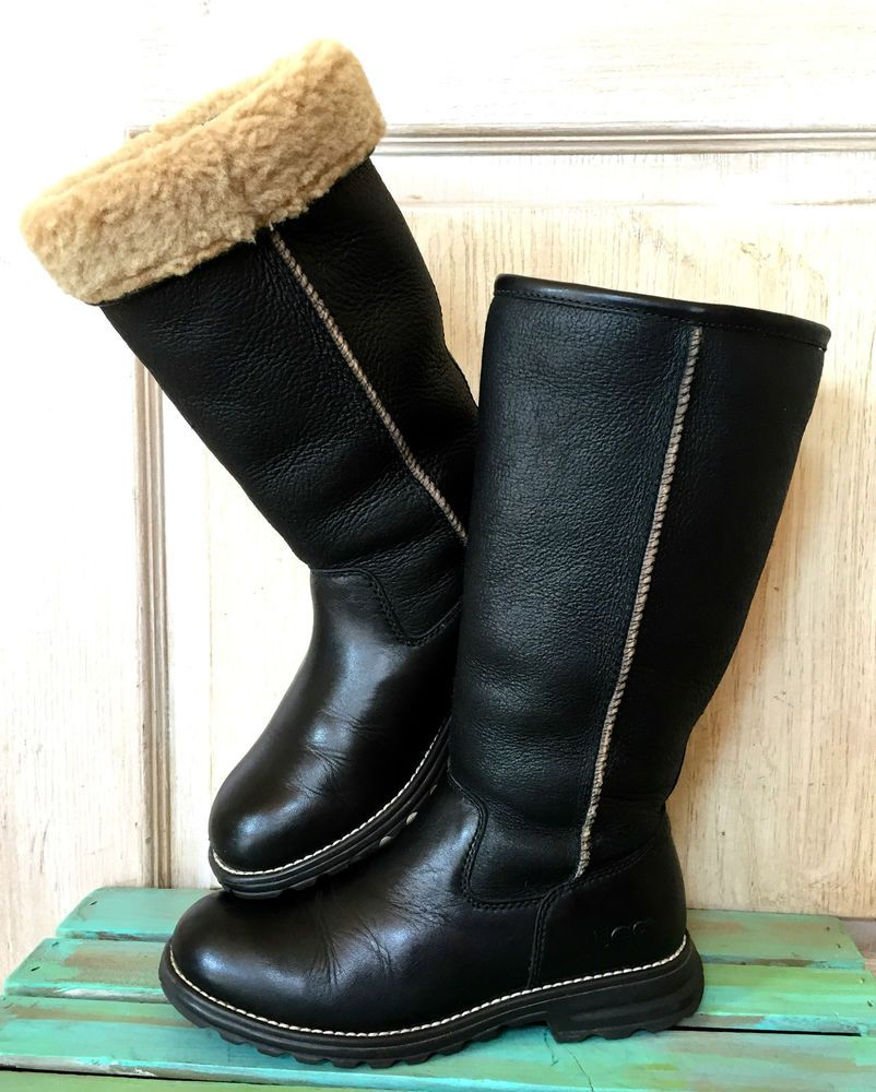 76be8704b64 Details about Ugg Australia black leather Brooks Tall fur lined ...