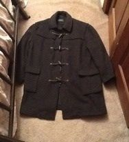 """Men's LAUREN BY RALPH LAUREN Men's Duffle Coat, Peacoat,  100% Authentic Lauren By Ralph Lauren Purchased Directly From Polo Ralph Lauren store.  RICH CHARCOAL GRAY WOO! GORGEOUS PLAID WOOL-Lined Jacket With Hidden Zipper & 4 Toggle Closure.  Not sized but my husband was a Size: Men's L/XL. Please go by measurements; Shoulder seam to end of arm: 23"""", underarm to underarm: 23"""" top of shoulder to bottom is 36"""" $125.00 plus $15.00 Accept check, M.O., paypal payments: Gymnastics11111@yahoo.com"""