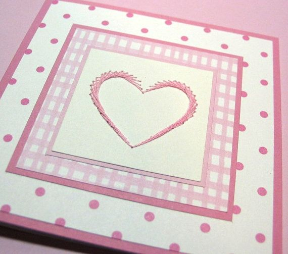 Baby Girl Card with Pink Embroidered Heart Pink by SandrasCardShop, $5.50