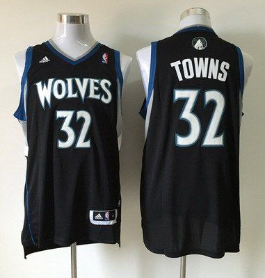 Mens Minnesota Timberwolves 32 Karl-Anthony Towns Revolution 30 Swingman  Black Jersey . 20784eb1e