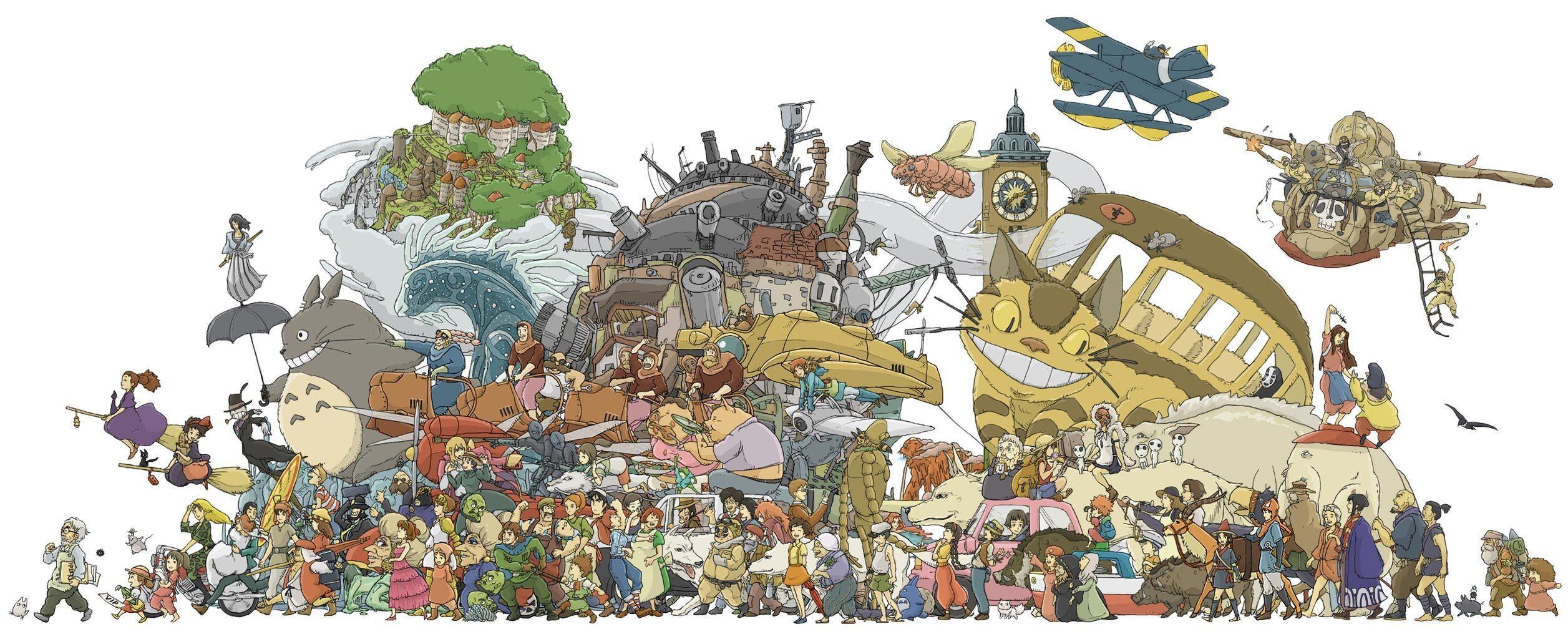 ジブリの歴代ポスター貼ってく イラスト 絵 集合 イラスト