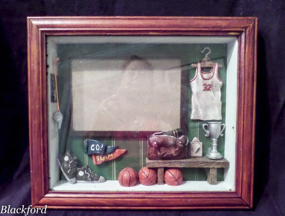 Sport Basketball Themed Shadow Box Picture Frame Wall Mount Craft