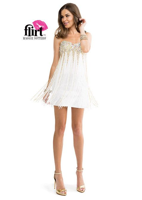 Flirt by Maggie Sottero P5866 Strapless Fringe Dress | After Prom ...