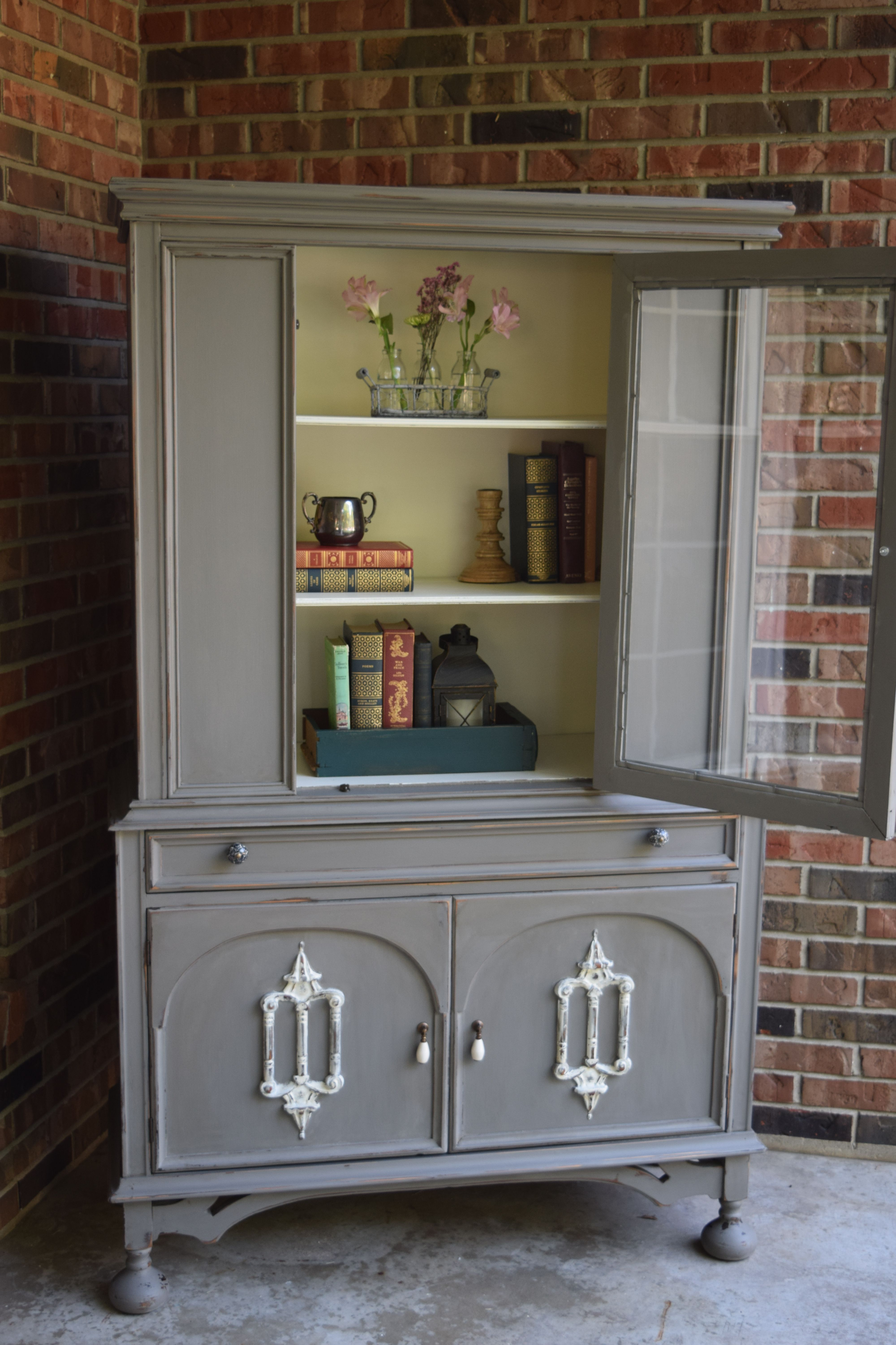 hutch cabinet shelves style cent having painted white section with the country bottom upper product stepback and american antique shelf drawers casepiece a
