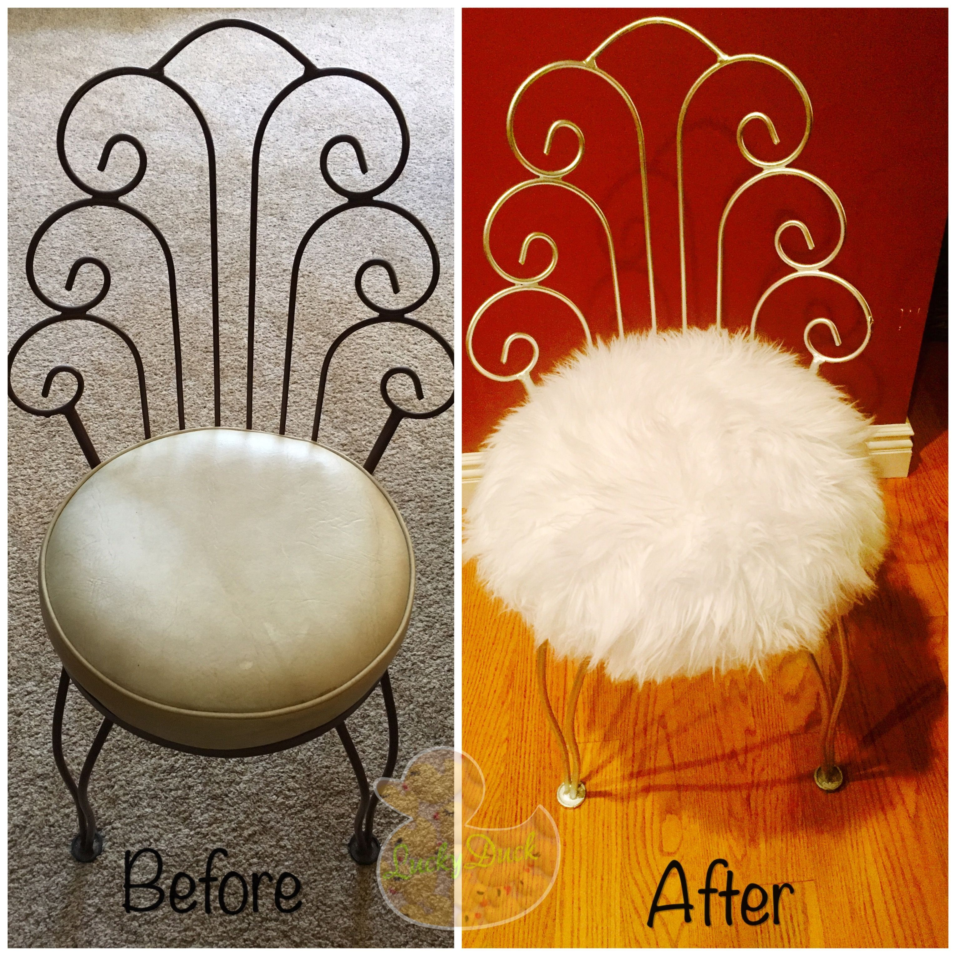 Pleasing Easy Diy Recovered Vanity Chair In Fuzzy Fluffy Faux Fur Machost Co Dining Chair Design Ideas Machostcouk