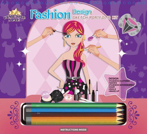 Designing Star Fashion Design Sketch Portfolio Kit with Pencils (95001) by Designing Star. $12.99. Includes: Instructions and color theory Wheels. Includes 7 stencil sheets with over 100 stencils. Includes 1 page of fashion stickers, 10 colored pencils, and 36 fashion design sketch pages. From the Manufacturer                Fashion Designer Sketch Pad with Colored Pencils - Includes: Instructions and Color Theory Wheels, 7 stencil sheets with over 100 stencils, 1...