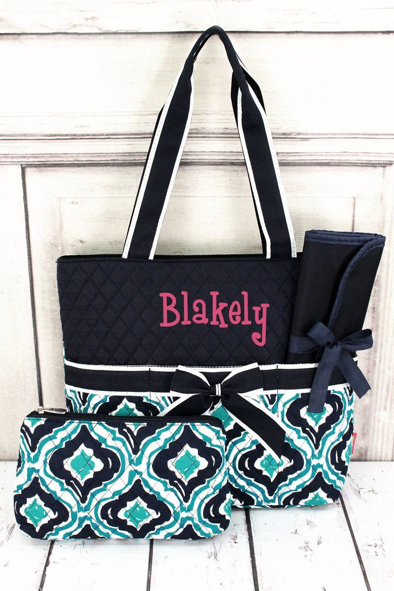 Retro Moroccan Quilted Diaper Bag With Changing Pad Monogrammed Personalized