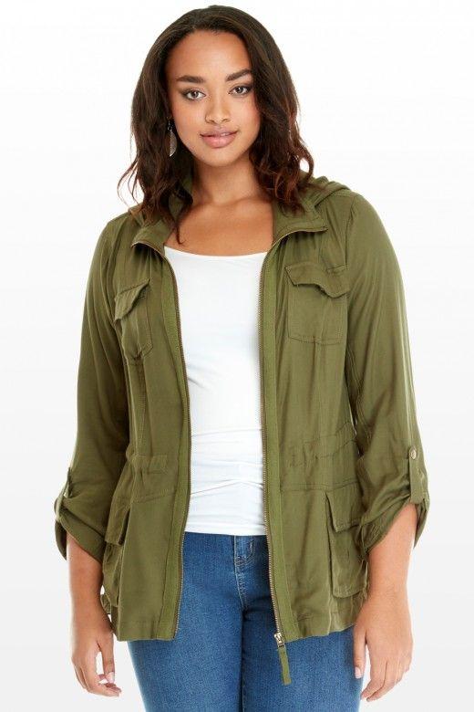 plus size ranger hooded cargo jacket | fashion to figure $48.90