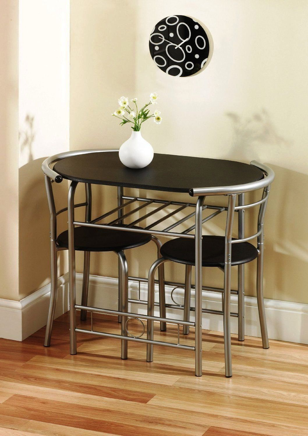 Krasavic 3 Piece Kitchen Dining Table Set For 2 Wood Top Metal