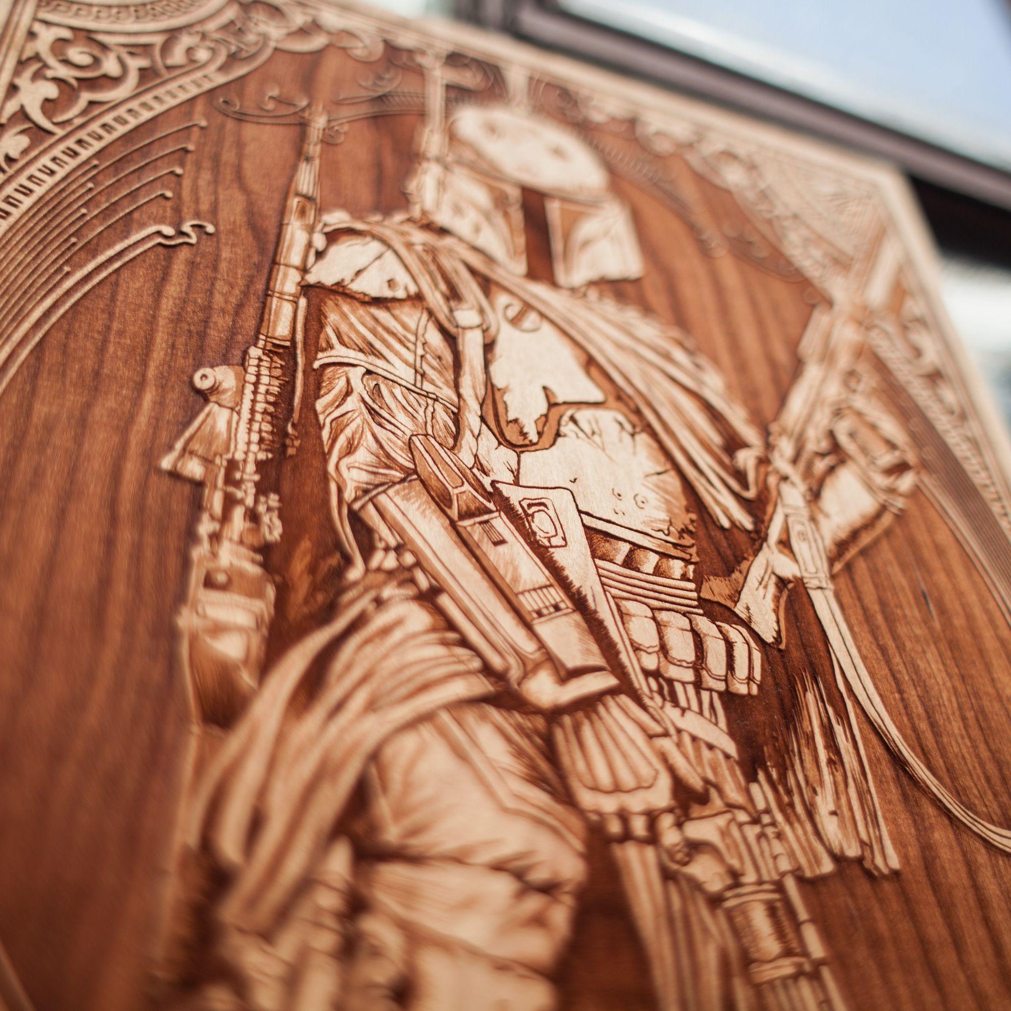 laser engraved wooden poster by spacewolf starwars illustration