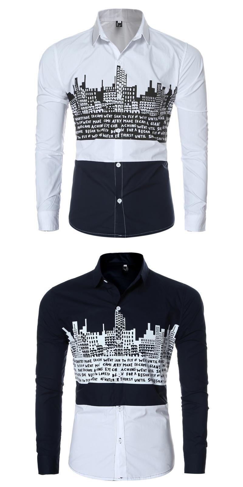 Men shirt brand clothing male long sleeve shirts casual city