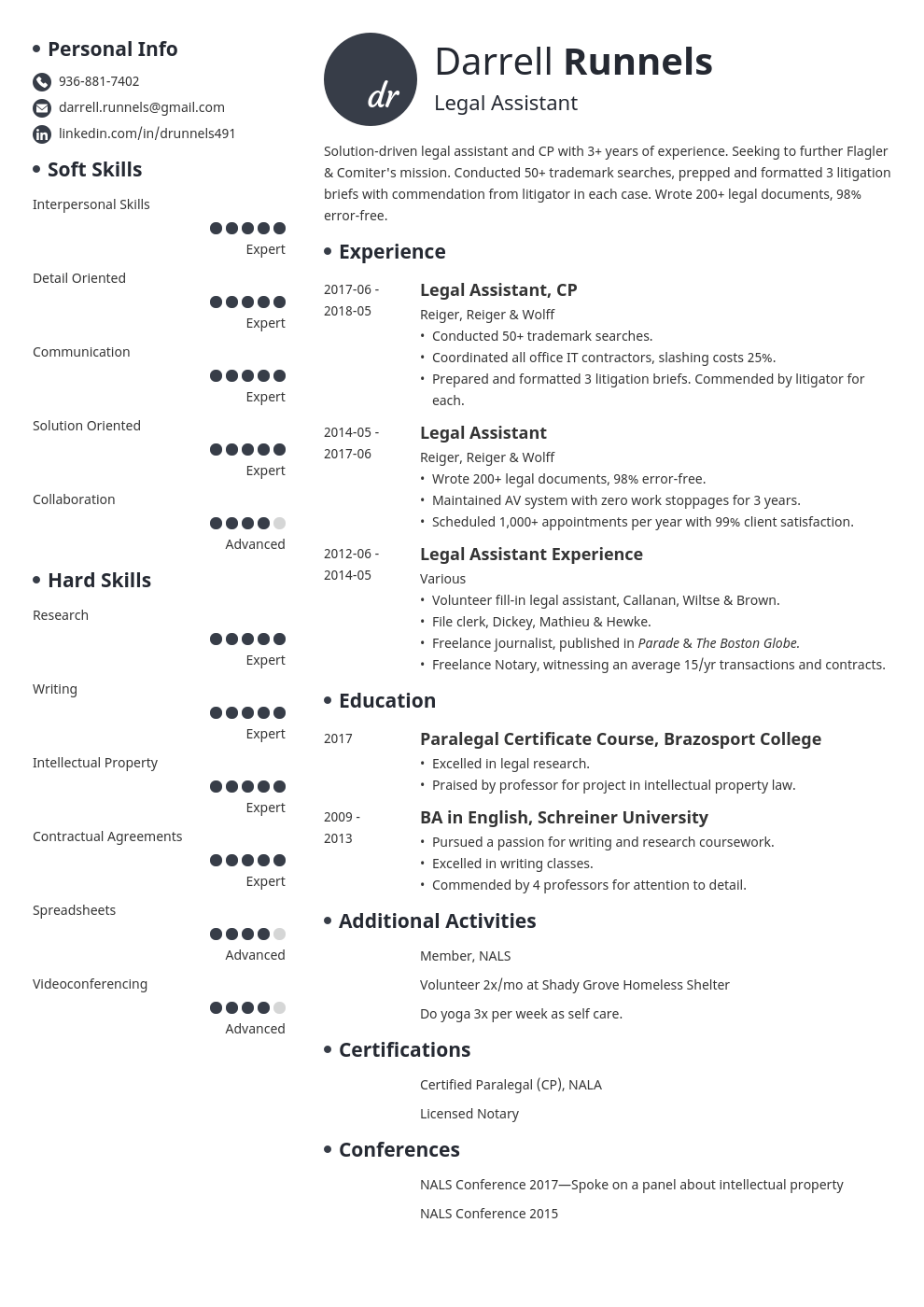 Legal Assistant Resume Example Template Initials Resume Examples Job Resume Examples Resume Templates