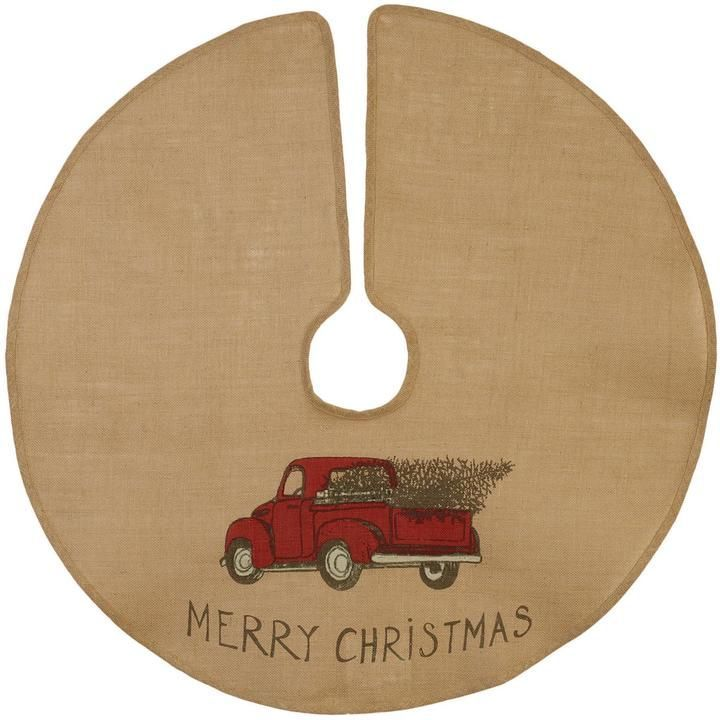 burlap christmas tree Red Truck Burlap Tree Skirt Primitive Home Decors