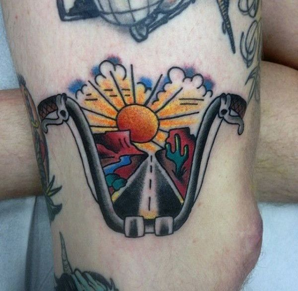 Small traditional biker tattoos handlebars with sunset and for Traditional motorcycle tattoo
