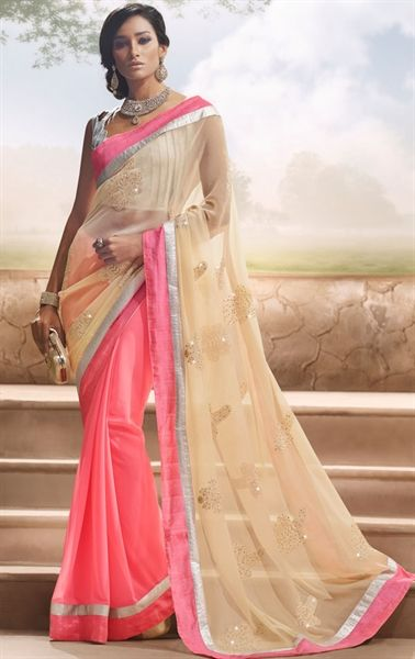 Picture of Lovely Biscuit Cream and Pink Color Saree
