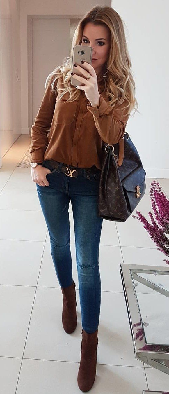 f0c39ea95f9886 #fall #outfits women's brown button up long sleeve shirt and blue jeans  outfit