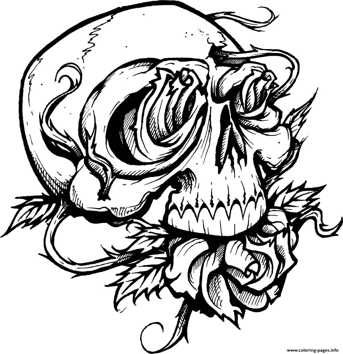 Print Sugar Skull With Roses Coloring Pages Skull Coloring Pages Halloween Coloring Pages Detailed Coloring Pages