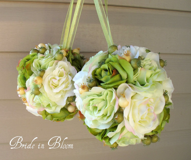 Wedding flower balls pomander green ivory Wedding decorations