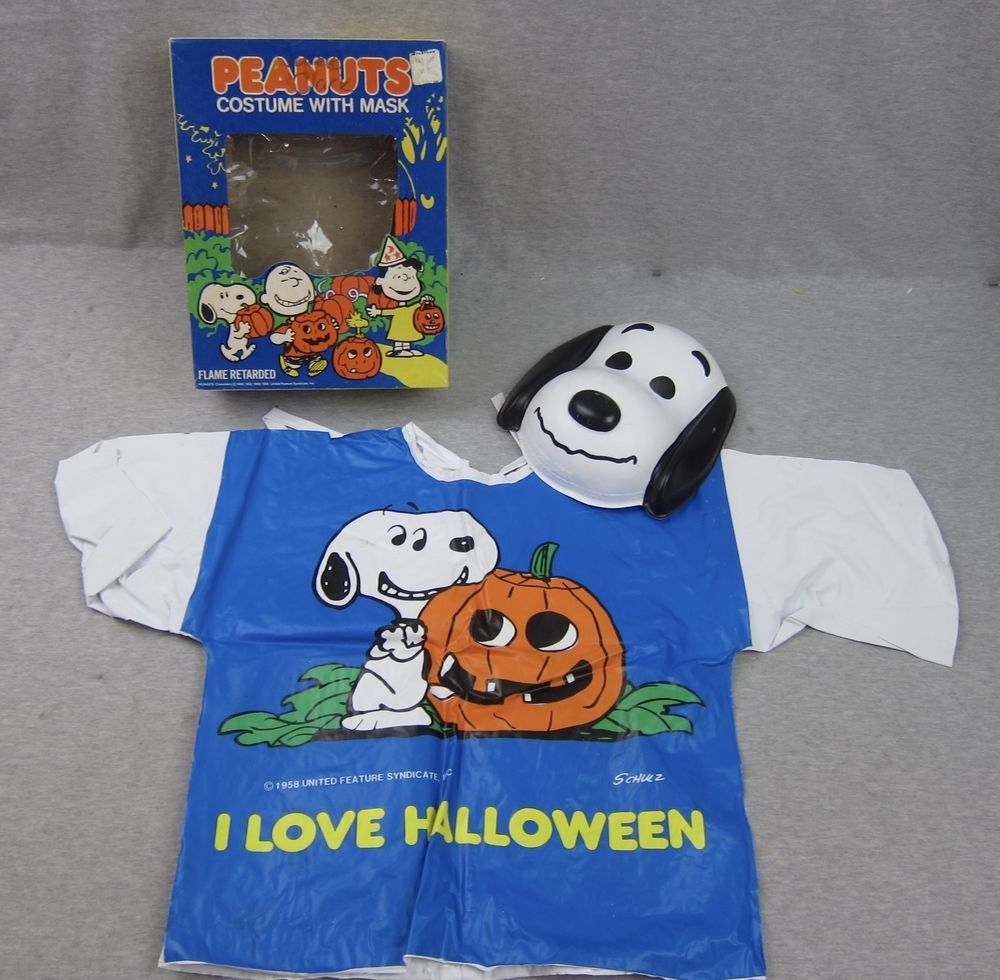 Vintage Child Peanuts Snoopy Costume with Mask Halloween ...