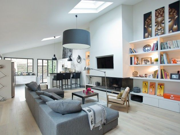Salon salle manger moderne avec parquet clair maison for Deco piece a vivre avec cuisine ouverte