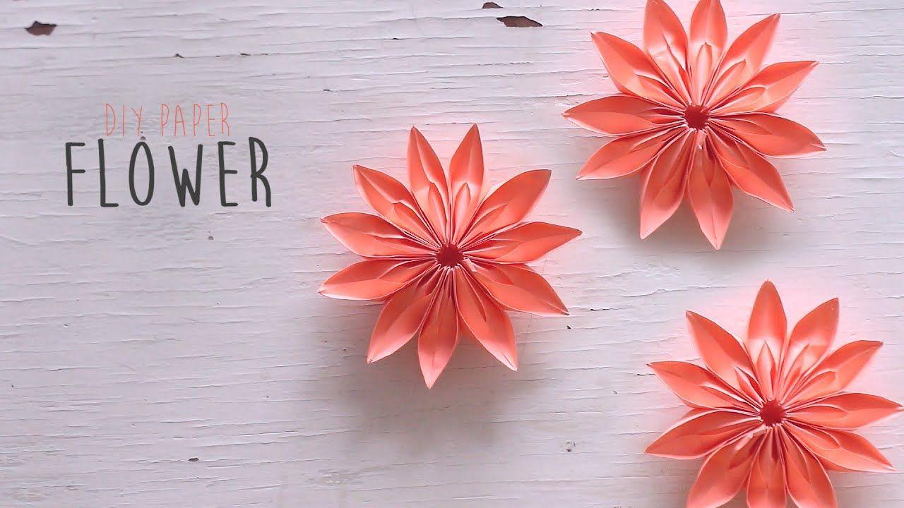 Diy Paper Flower Youtube Origami Pinterest Paper Flowers