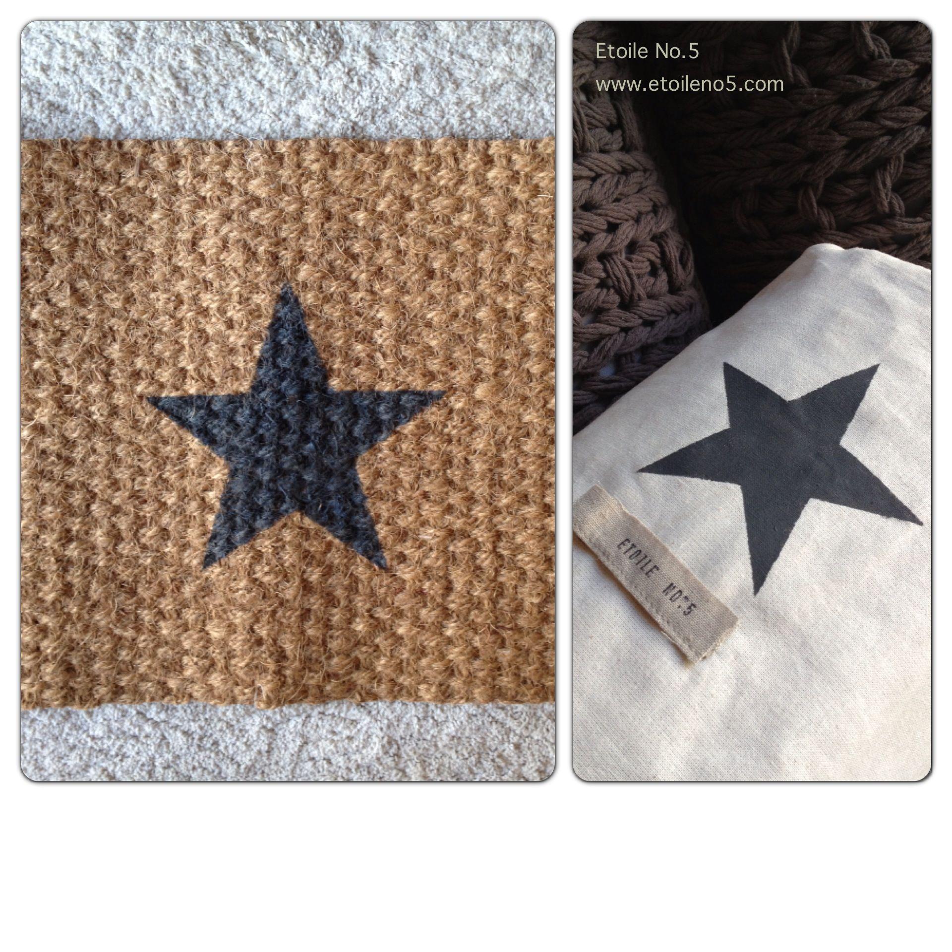 Felpudo con estrella pintada y con funda de algodón en Etoile No.5 www.etoileno5.com