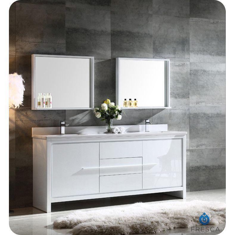 Fresca Trieste Allier 72 Double Modern Sink Bathroom Vanity Set With Mirror Re Modern Bathroom Sink Contemporary Bathroom Vanity Double Sink Bathroom Vanity