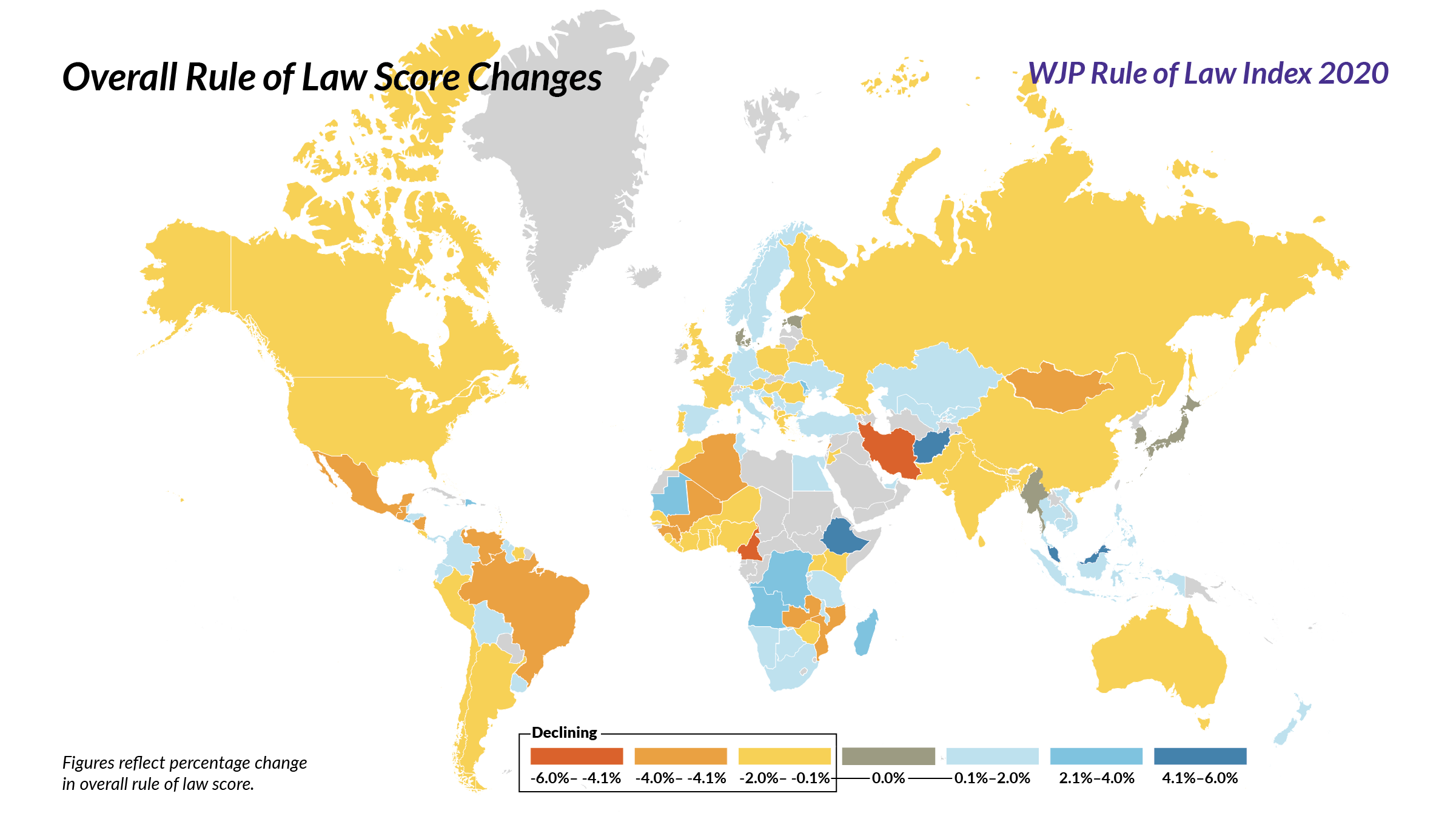 2020 Wjp Rule Of Law Index Shows Sustained Negative Slide Toward Weaker Rule Of Law Around The World Law Rules Index