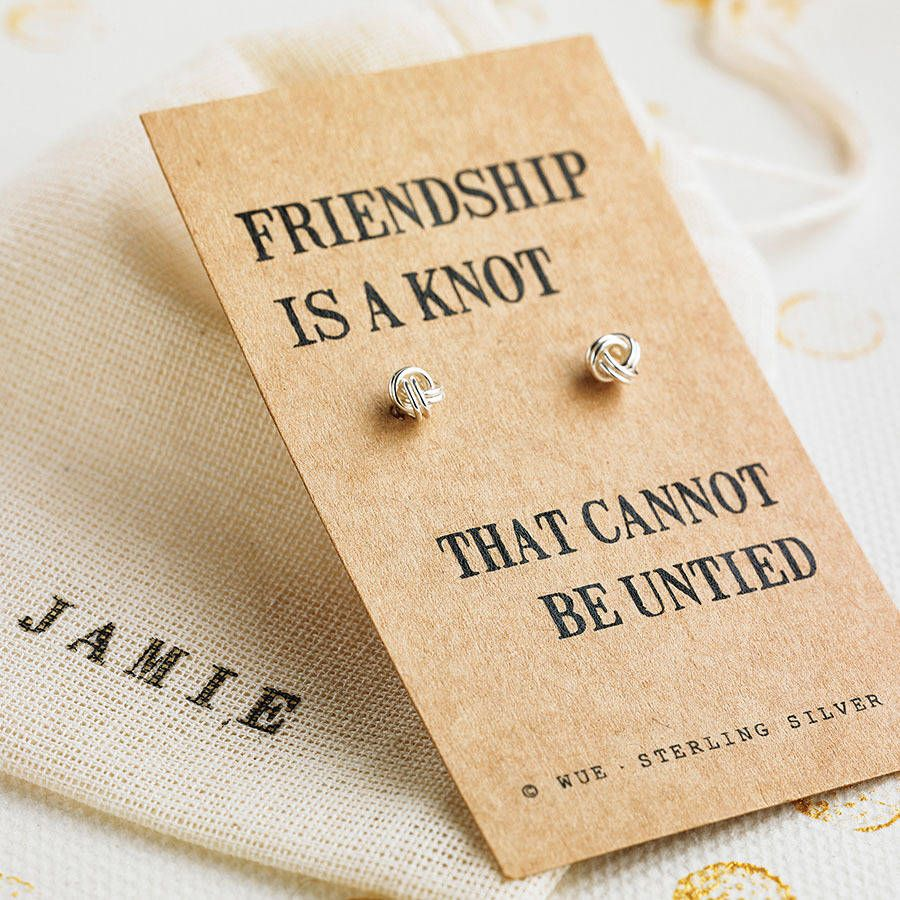 Friendship Knot Silver Earrings A Pair Of Small Sterling With Optional Personalised Gift Bag
