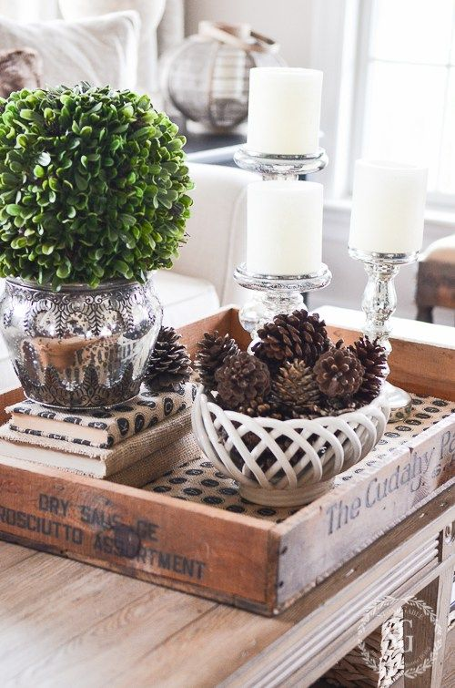 Cozy And Warm Winter Decorating Stonegable Coffee Table Centerpieces Funky Home Decor Coffee Table Vignettes