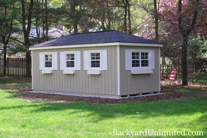 10x16 Hip Roof A Frame Shed With Additional Windows Shutters And Flower Boxes Shed Hip Roof Shed Design