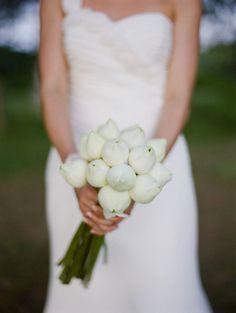 Unique Wedding Bouquet Of White Bud Stage Lotus