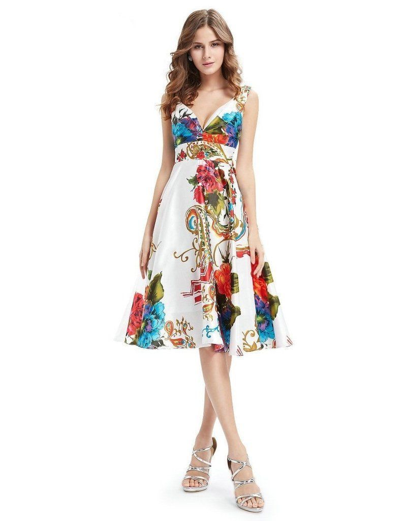 Awesome amazing cocktail dresses empire line floral print satin