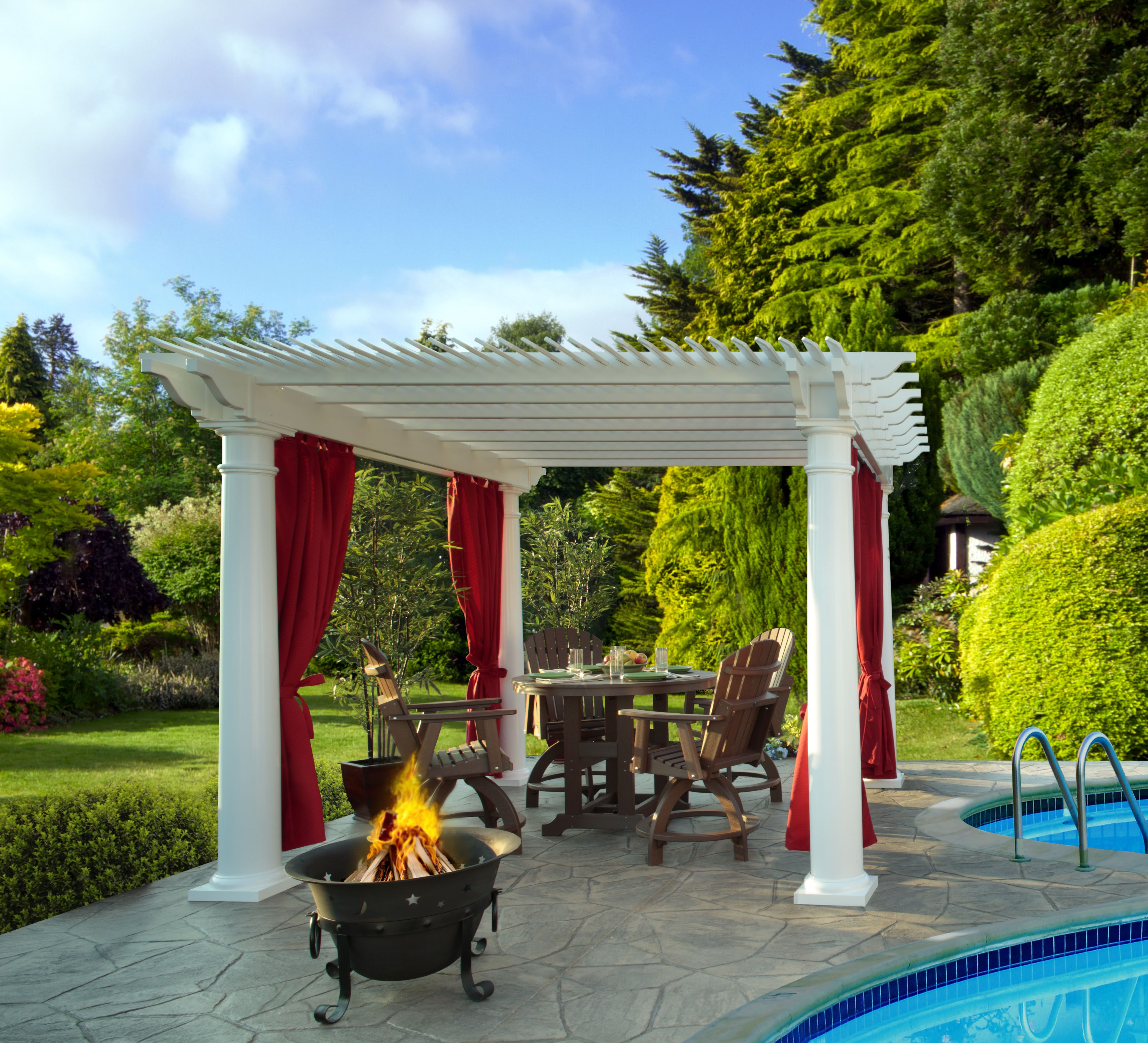take life outdoors with our white vinyl pergola with red sunbrella