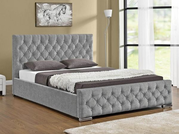 Tgc Arya Super King Size Silver Chenille Fabric Ottoman Bed Frame Upholstery Bed Gray Master Bedroom Bed