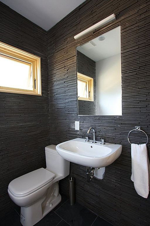 contemporary black powder bathroom design ideas with textured wall white porcelain wall mounted with attractive decoration powder room inter