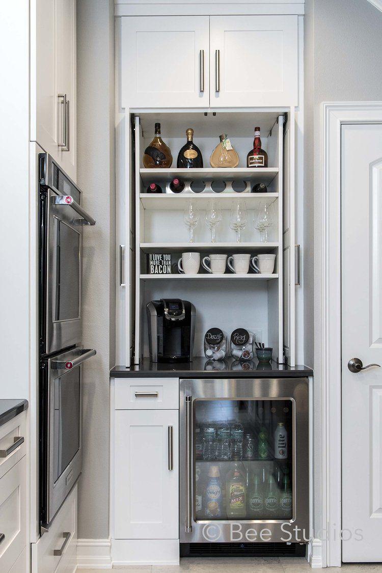 Bar Storage In Kitchen With Wine Fridge Bar Fridge And Coffee Station Coffee Bars In Kitchen Coffee Bar Home Coffee Station Kitchen